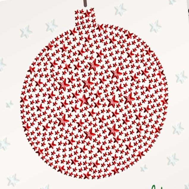 Lak-opdruk op een kerstkaart
