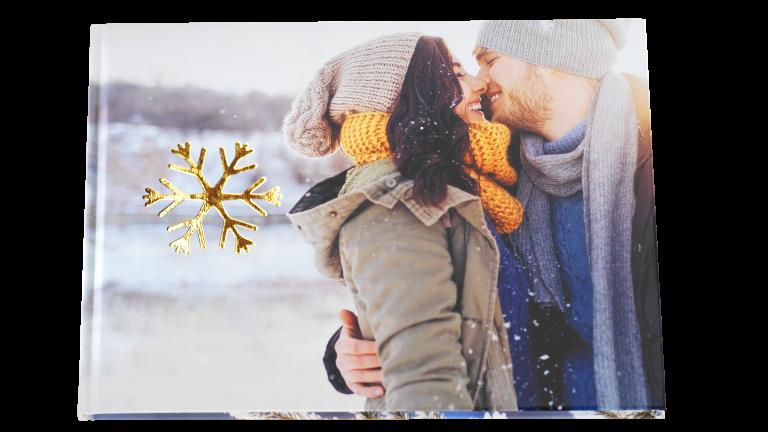 Winter fotoboek met goud-opdruk